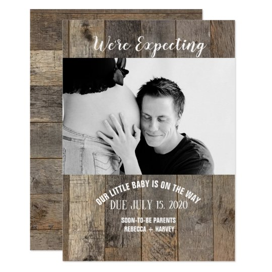 wooden country rustic Photo Pregnancy Announcement
