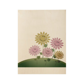 Wooden creative Poster : with Flowers
