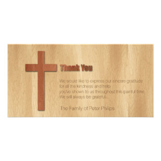 Wooden Cross Christian Sympathy Thank You Card Picture Card