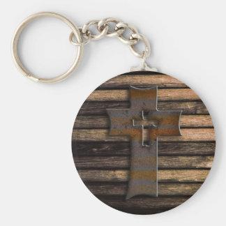 Wooden Cross Key Ring