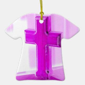 Wooden cross, purple version, photograph church christmas tree ornament