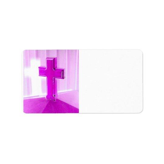 Wooden cross, purple version, photograph church label