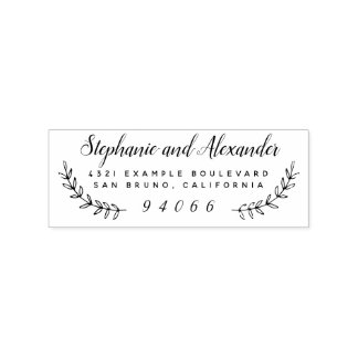 Wooden Custom Wedding Wreath Named Return Address Rubber Stamp