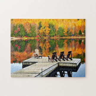 Wooden Dock On Autumn Lake Jigsaw Puzzle