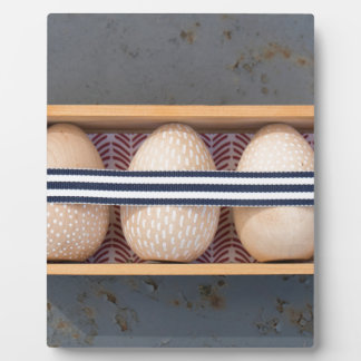 Wooden eggs in a box plaque
