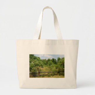 Wooden Fence and Meadow Canvas Bag