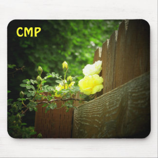 Wooden Fence and Yellow Rose Hedge  your Initials Mouse Pad