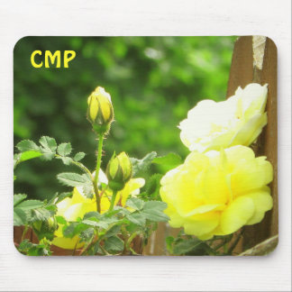 Wooden Fence and Yellow Rose your Initials Mouse Pad
