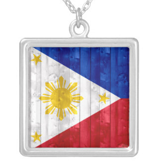 Wooden Filipino Flag Silver Plated Necklace