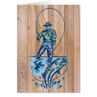 Wooden fisherman line catch greeting card
