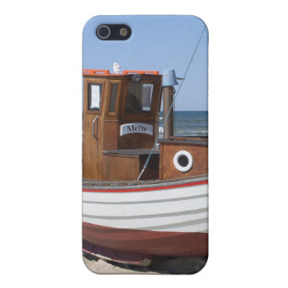 Wooden fishing boat on the beach. iPhone 5/5S covers