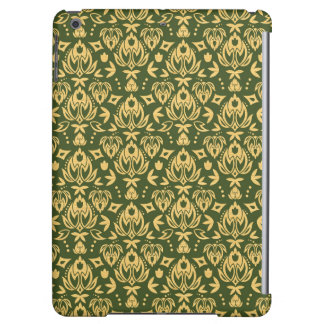 Wooden floral damask pattern background