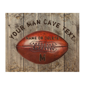 Wooden Football Man Cave Sign with 3 Text Boxes