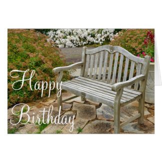 Wooden garden bench Birthday greeting card