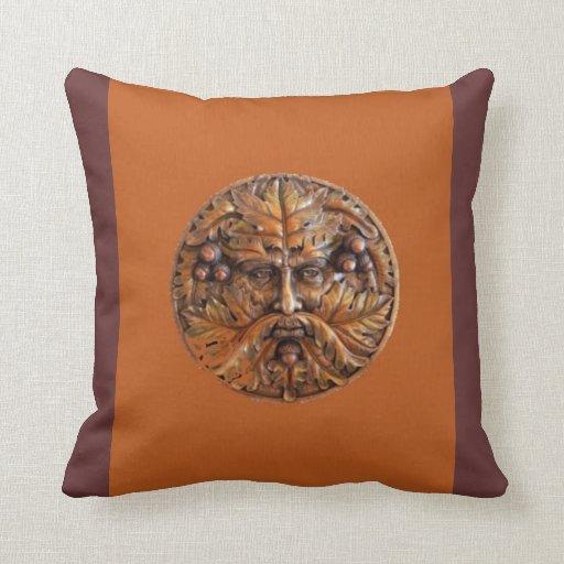 Wooden Greenman Pillow