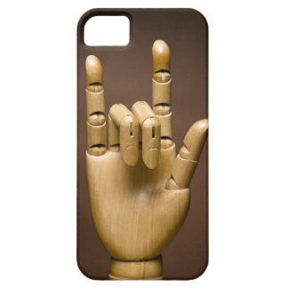 Wooden hand index and small finger extended, iPhone 5 cases