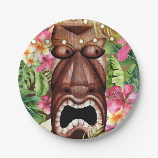 Wooden Hawaiian Tiki Luau Summer Birthday Party Paper Plate