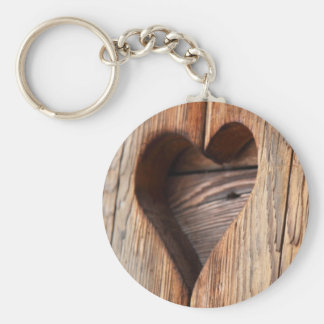 Wooden Heart. Basic Round Button Key Ring