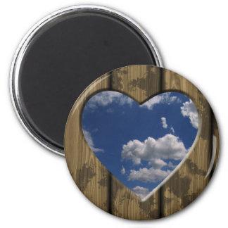 Wooden heart blue sky clouds design fridge magnet