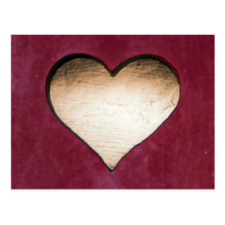 Wooden heart red design postcard