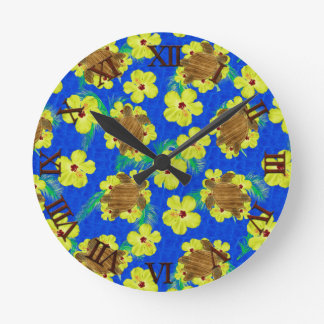 Wooden Honu And Hibiscus Flowers Round Clock