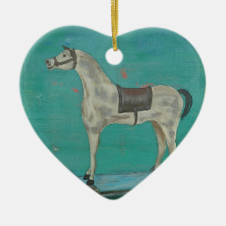 Wooden horse ceramic ornament