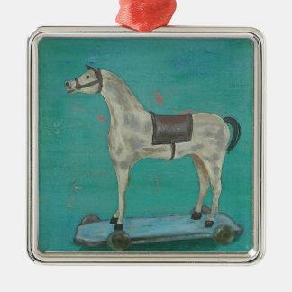 Wooden horse metal ornament