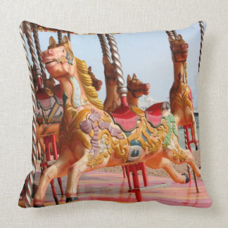 Wooden horse on vintage fairground roundabout cushion