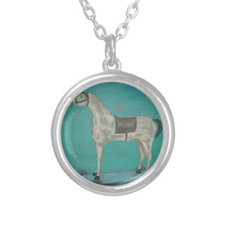 Wooden horse silver plated necklace