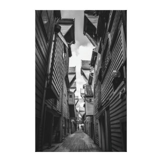 Wooden house alley canvas print