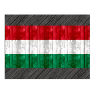Wooden Hungarian Flag Postcard