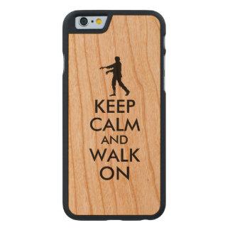 Wooden iphone Case Keep Calm Walking Zombie Custom