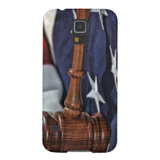 Wooden Judges Gavel over flag Galaxy S5 Cases
