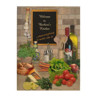Wooden Kitchen Sign with your Name Wood Prints