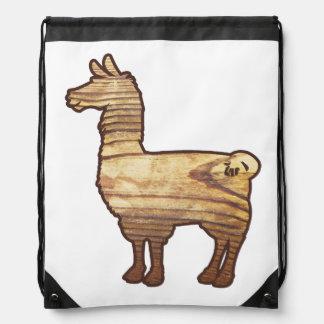 Wooden Llama Drawstring Bag