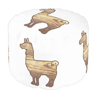 Wooden Llama Pouf