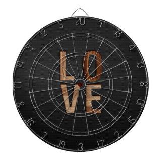 Wooden Love Typography Image Print Dartboard