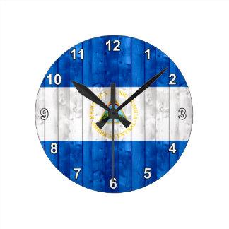 Wooden Nicaraguan Flag Round Clock