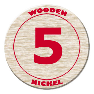 Wooden Nickel Round Cutout Personalized Invitation