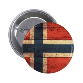 Wooden Norway Flag 6 Cm Round Badge