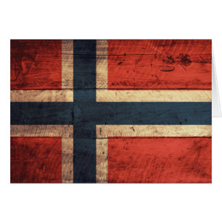 Wooden Norway Flag Note Card
