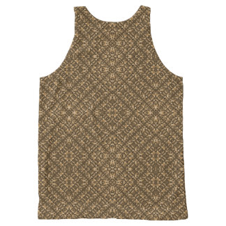 Wooden Ornamented Pattern All-Over Print Singlet