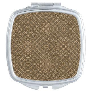 Wooden Ornamented Pattern Compact Mirror