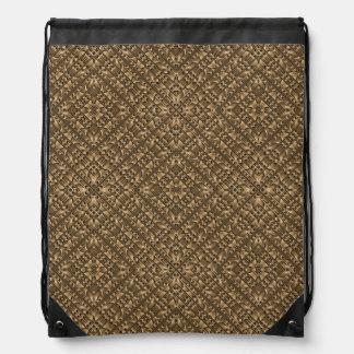 Wooden Ornamented Pattern Drawstring Bag