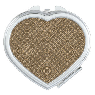 Wooden Ornamented Pattern Makeup Mirror