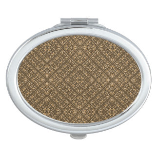 Wooden Ornamented Pattern Mirror For Makeup