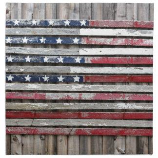 Wooden Painted American Flag Artwork Napkin