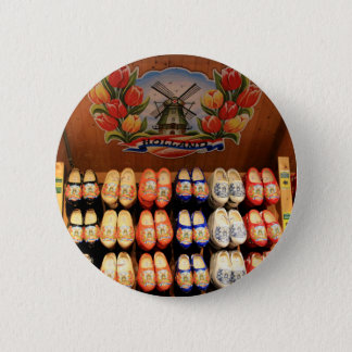 Wooden painted clogs, Holland 2 6 Cm Round Badge