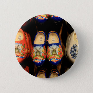 Wooden painted clogs, Holland 6 Cm Round Badge