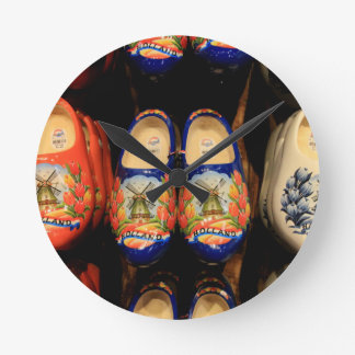 Wooden painted clogs, Holland Round Clock